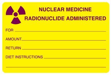 "Nuclear Medicine Communication Label, 4"" x 2-5/8"""