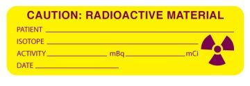 "Nuclear Medicine Communication Label, 3"" x 7/8"""