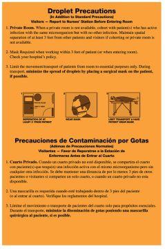 """Droplet Precautions Labels, 5-1/4"""" x 8"""""""