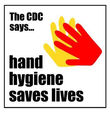 "Hand Hygiene Labels, 6"" x 6"""