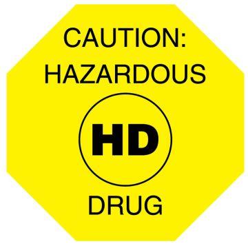 "HD Caution Hazardous Drug, 1-1/2"" x 1-1/2"""