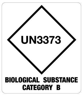 "UN3373 Cat B Bio Substance Shipping Label, 3-1/2"" x 4"""