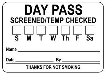 Day Pass Badge, SCREENED