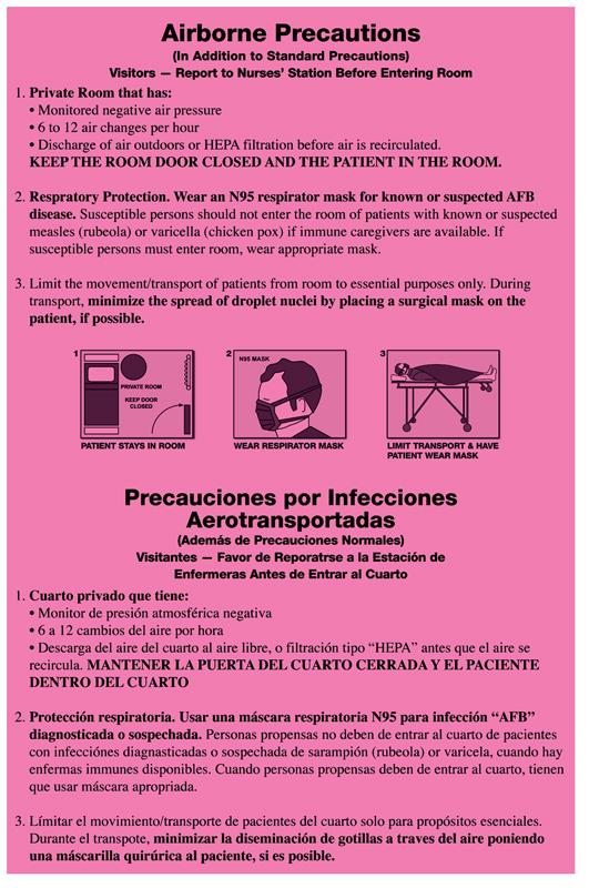 """Airborne Precautions Labels, 8"""" x 5.25"""""""